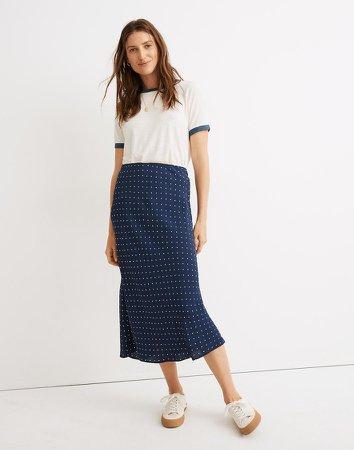 Midi Slip Skirt in Polka Dot