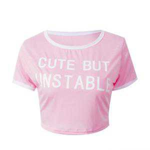 Pink Cute But Unstable Cropped Tee Belly Top Shirt | Kawaii Babe