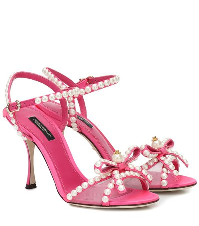 Keira 85 Embellished Satin Sandals - Dolce & Gabbana | Mytheresa