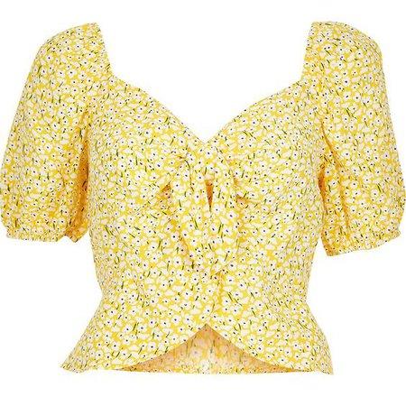 yellow flower crop top
