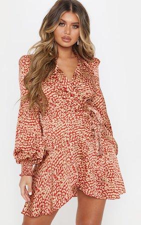 Red Satin Leopard Print Wrap Frill Hem Shift Dress   PrettyLittleThing