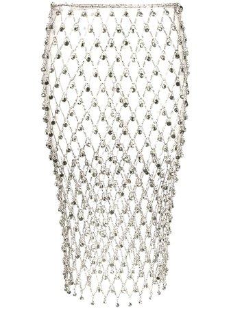 Silver Paco Rabanne Rhinestone Chain Mesh Skirt   Farfetch.com
