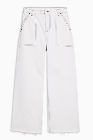 Off White Pocket Crop Jeans | Topshop white