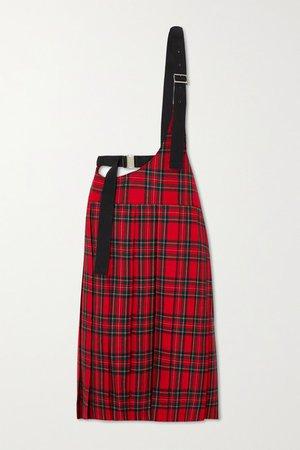 Buckled Pleated Tartan Wool-twill Skirt - Red