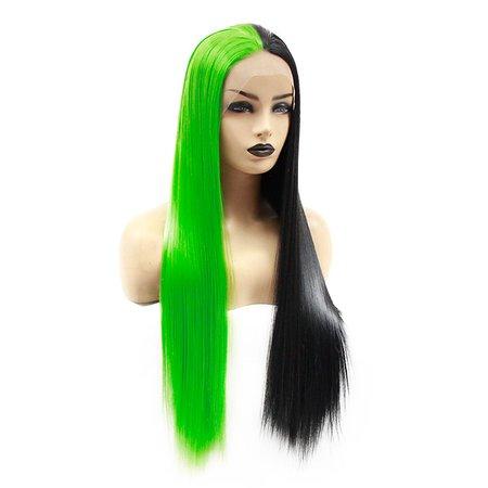 Synthetic Lace Front Wig Straight Jenifer Middle Part Lace Front Wig Long Green Synthetic Hair 22-26 inch Women's Heat Resistant Women Hot Sale Black Green / Glueless 7899958 2020 – $49.99