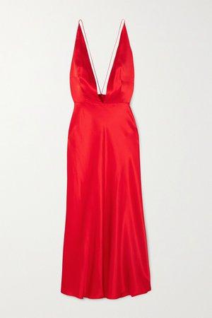 Red Open-back silk-satin midi dress   MATERIEL   NET-A-PORTER