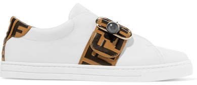 Logo-embossed Leather Sneakers - White