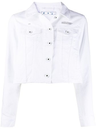 Off-White logo-print Cropped Denim Jacket - Farfetch