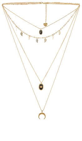 BRACHA Crescent Moon Layered Necklace in Gold | REVOLVE