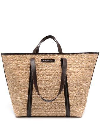 Brunello Cucinelli woven straw tote bag