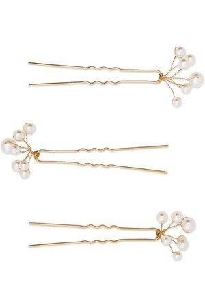 Jennifer Behr | Primavera set of three gold-tone Swarovski pearl hair pins | NET-A-PORTER.COM