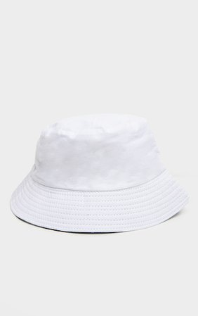 White Cotton Reversible Bucket Hat | PrettyLittleThing USA