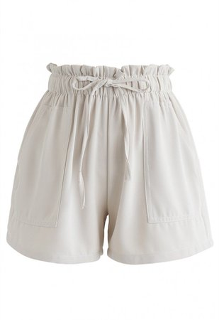 PaperBag-Waist Pockets Shorts in Cream - NEW ARRIVALS - Retro, Indie and Unique Fashion