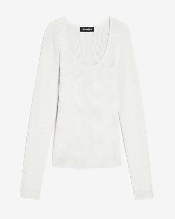 Fitted Ribbed Scoop Neck Sweater