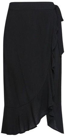 Black Wrap Midi Skirt