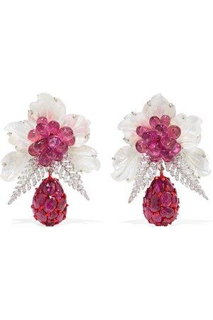 Bina Goenka | 18-karat white gold multi-stone earrings | NET-A-PORTER.COM