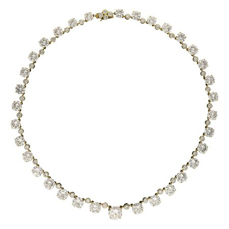 41.49 Carat D-H Color Diamond Riviere Necklace in 18 Karat Gold, circa 1962 For Sale at 1stDibs