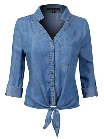 Design by Olivia Women's 3/4 Roll Up Sleeve Button Down Front Tie Knot Chambray Denim Shirt at Amazon Women's Clothing store