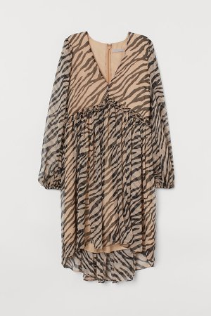 V-neck Chiffon Dress - Beige