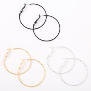 Gold Hoop Earrings - 25MM, 35MM, 45MM | Claire's US