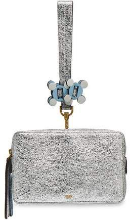 Stack Color-block Metallic Cracked-leather Clutch