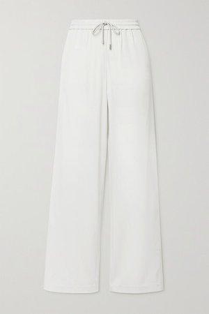 Twill Wide-leg Pants - Off-white