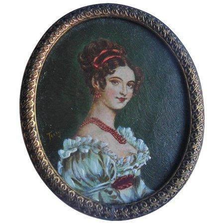 Antique Miniature Oil Painting Portrait on Copper Dollhouse Size : Valzak's Antique Treasures   Ruby Lane
