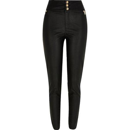 Petite black zip pocket PU skinny trousers   River Island