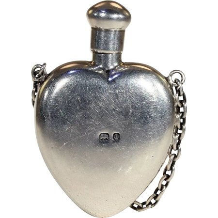 Victorian Sterling Silver Heart-Shaped Perfume Bottle Pendant : Victoria Sterling | Ruby Lane