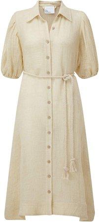 Belted Linen-Blend Gauze Midi Shirt Dress