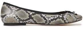 Lola Bow-embellished Snake-effect Leather Ballet Flats