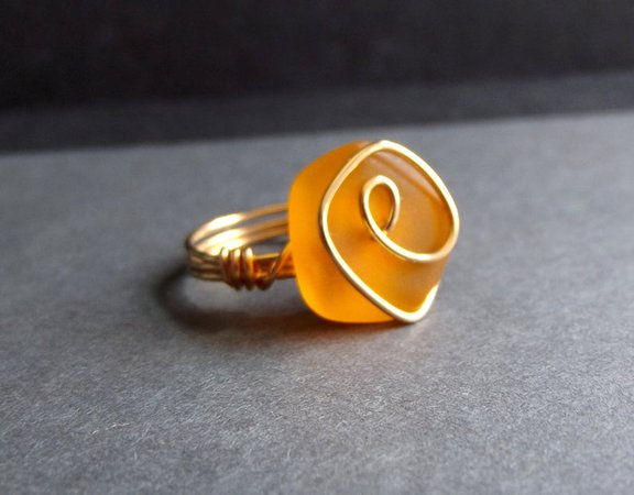 Pumpkin Orange Sea Glass Ring