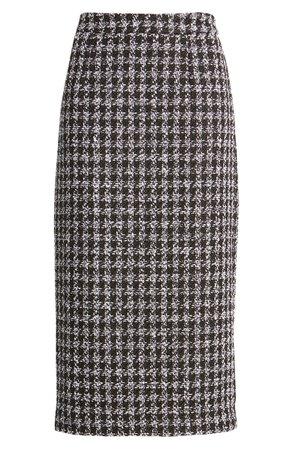 Halogen® Houndstooth Check Tweed Pencil Skirt