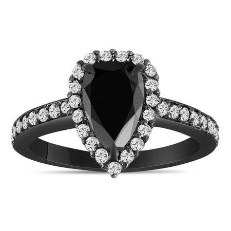 1.75 Carat Pear Shaped Black Diamond Engagement Ring, Black Diamond Wedding Ring, Halo Vintage Ring, 14k Black Gold Unique Handmade Certified