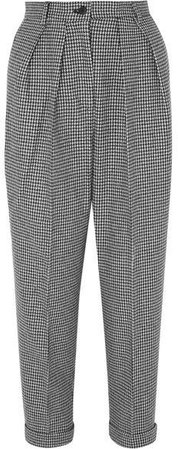 Pleated Houndstooth Wool-blend Tapered Pants - Black