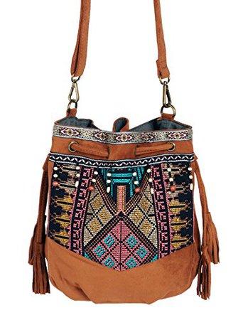 Beuteltasche Hippie Tasche Umhängetasche Fransentasche schwarz braun grün bunt Fransen Beutel Handtasche Boho bucket bag: Schuhe & Handtaschen