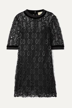 Gucci | Velvet and grosgrain-trimmed macramé mini dress | NET-A-PORTER.COM