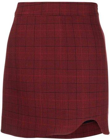 checked asymmetric skirt
