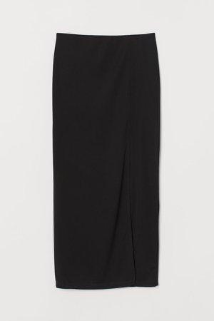 Skirt with Slit - Black