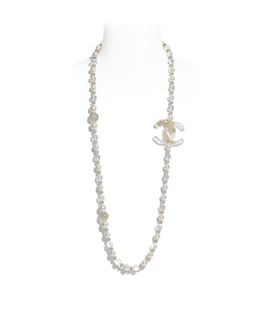 Long Necklace, metal, glass pearls, imitation pearls, diamanté & resin, gold, pearly white, transparent & crystal - CHANEL