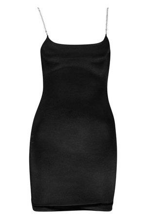 Diamante Strap Bodycon Mini Dress   Boohoo