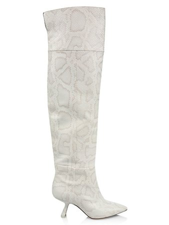 Nicholas Kirkwood Lexi Over-The-Knee Snakeskin-Embossed Leather Boots | SaksFifthAvenue