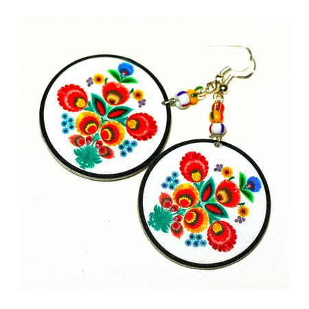 Folk Flowers Polish Folk Art Motif Earrings - Decoupage Earrings - White Orange Red Yellow - Double on Luulla