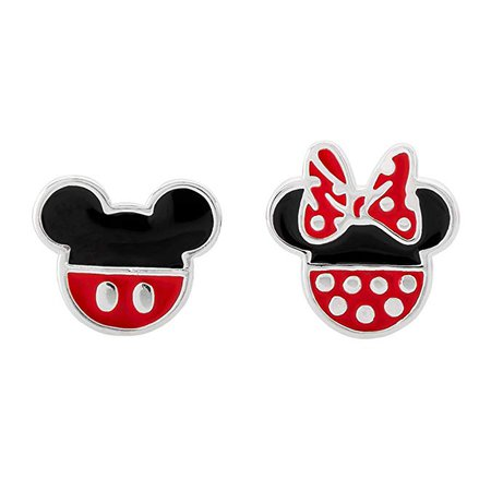 Amazon.com: Disney Mickey Mouse and Minnie Mouse Mismatched Silver Plated Stud Earrings; Jewelry for Women and Girls: Jewelry