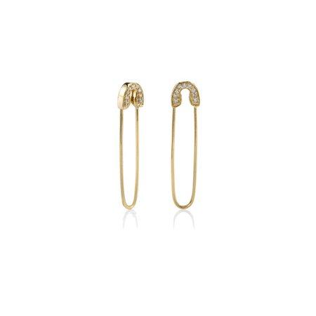 Gold & Diamond Safety Pin Earrings - Earrings - Jewelry - Sydney Evan