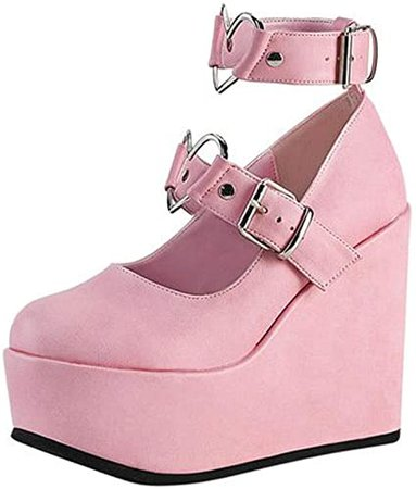 Amazon.com   CYNLLIO Women's Wedges Platform Mary Janes High Heel Pumps Sweet Kawaii Lolita Shoes Ankle Heart Buckle Strap Punk Goth Cosplay Dress Shoes Black   Pumps