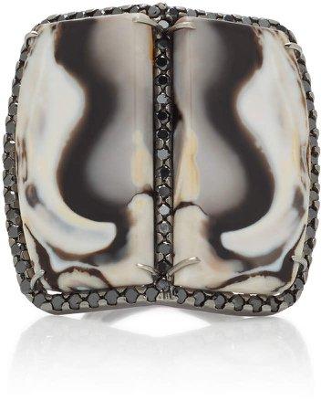 Kimberly McDonald 18K Gold Opal And Black Diamond Ring | Fashmates.com
