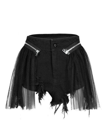 Punk Ripped Shorts With Mesh Layer – Punk Design