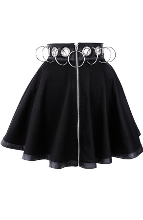 """Black short skirt with rings """"REBEL GAL SKIRT"""" 