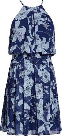 Eliza J Floral Print Halter Dress   Nordstrom